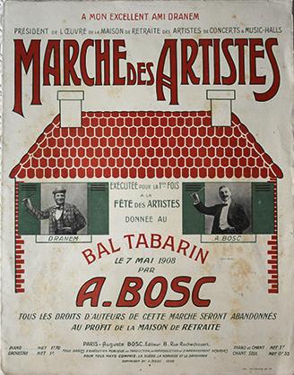 La Marche des Artistes, partition pour le piano, exécutée pour la première fois à la Fête des Artistes, donnée au bal Tabarin, le 7 mai 1908. Elle est dédiée à Dranem, président de l'oeuvre de la maison de retraite des artistes de concerts & music-hall.