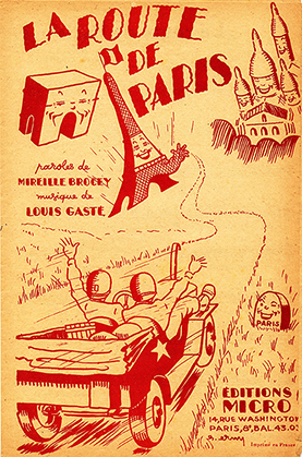 Editions Micro, 14 rue Washington, Paris 8e; paroles : Mireille Brocey ; musique Louis Gasté. Illustration : Erny.