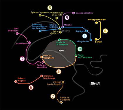 la carte du réseau tel qu'il est en 2014. (Document Stif)