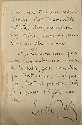 Lettre d'Emile Zola à son avocat.