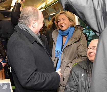 Parmi les élus présents dans la rame inaugurale, Valérie Pécresse, député des Yvelines.
