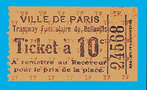 Le ticket à 10 centimes du funiculaire de Belleville.