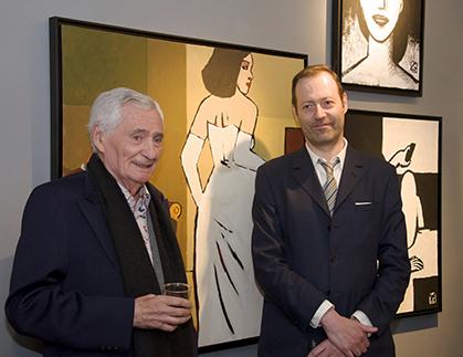 Alex Varenne, auteur de Bd érotique devant la toile « La Mariée » en compagnie l'artiste sera le prochain invité de la galerie.