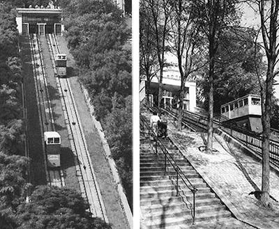 Funiculaire électrique, à gauche version 1935, à droite version années 60.