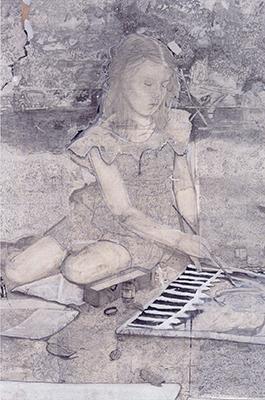 The Painter 2016 de Michael Ryan technique mixte sur papier en format 112x137,5 cm (Anna Marra contemporanea, Rome)