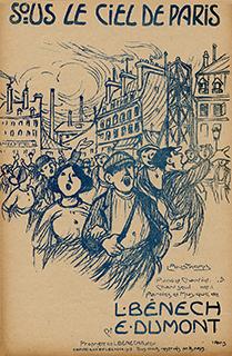 """Cette partition de 1918 illustrée par Pousthomis a pour refrain """"Sous le ciel de Paris,/ Ciel de fumée, de poussièr' grise/... Ecoutez la voix des usines…"""""""