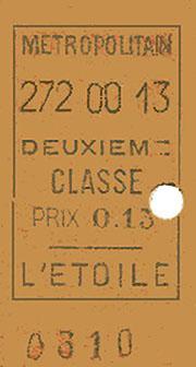 Etoile : billet vendu à l'unité; 2e classe, 272e jour de l'année 1900 soit le samedi 29 septembre 1900 à 13h.