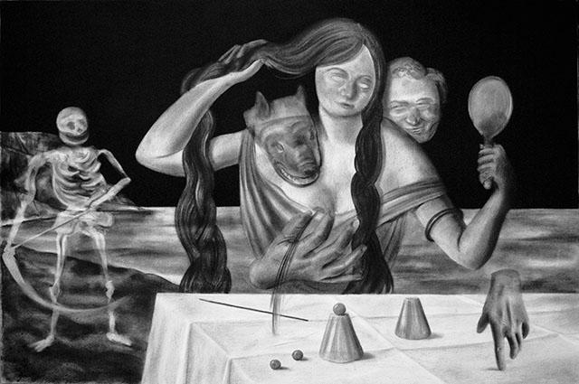 Gabriel Leger « Le Grand Jeu », 2009, Fusain sur papier, 70 x 100 cm © Gabriel Leger & galerie Sator