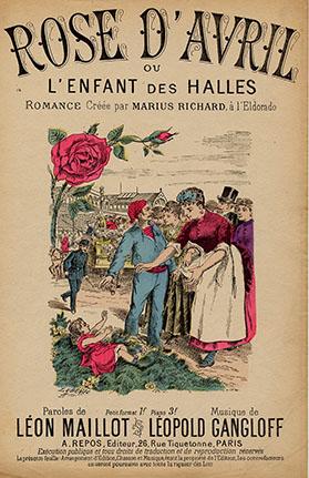 cette romance créée à la Scala, raconte l'histoire d'une fillette de deux ans trouvée aux Halles, en avril, dormant sur des roses.
