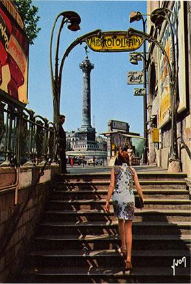 Années soixante-dix, sortie du métro Bastille côté gare.