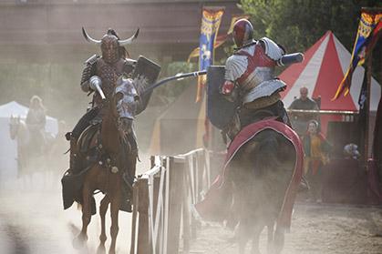 combats de chevaliers pendant la journée.
