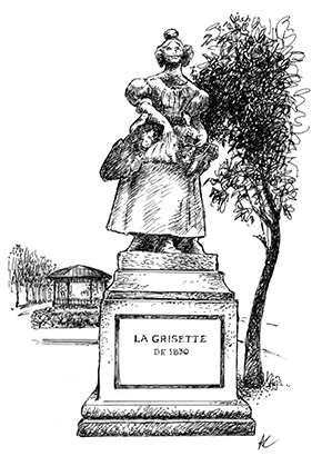 Dessin de la Grisette du square Jules Ferry par André Chaigneau pour les Nautes de Paris.