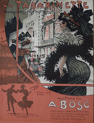 Cette partition pour le piano est illustrée par Clérice Frères. Cette nouvelle danse montmartroise, composée par Auguste Bosc a obtenu, le 1er prix d'honneur au grand concours de danse matinée du 20 avril 1907 au théâtre Sarah Bernhardt.