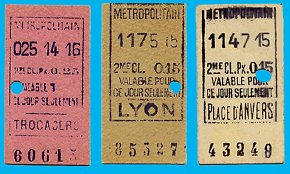 Tickets de Métropolitain 1914 - 1915 - 1917.
