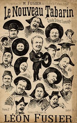 """Dans les années 1870-1880, Butscha a illustré de nombreux """"petits formats"""" distribués dans les rues. Cette scène comique, mi-parlée mi-chantée, appartient au répertoire de Léon Fusier du théâtre du Palais Royal."""