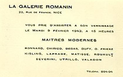 Carton d'invitation de l'inauguration de la galerie Romanin.