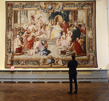 Didon et Enée, tenture de l'Iliade d'après Charles Coypel (Paris, Manufacture des Gobelins, atelier Jean-Jacques Jans, 1726-1730) 4,72 x 6,55 m.