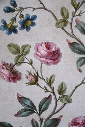 Détail d'une feuille de paravent avec roses ;carton de Maurice Jacques 1764, 1,80x0,60 m commande du duc de Choiseul.