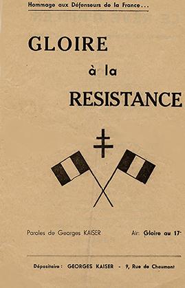 « Gloire à la Résistance » sur l'air de gloire au 17e.