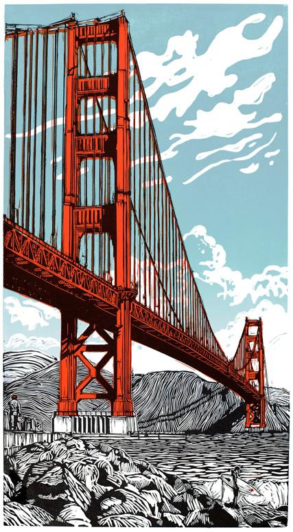 Le Golden Gate Bridge sur la baie de San Francisco, une linogravure d'Eric Rewitzer.