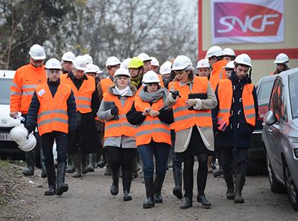 En route pour la visite du chantier, le 3 décembre 2014.