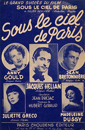 """Partition """"petit format"""" de """"Sous le Ciel de Paris""""; paroles : Jean Drejac; musique : Hubert Giraud (Paris Choudens éditeur)."""