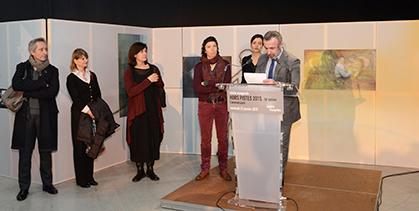 Au micro Alain Seban, président du centre Pompidou entouré de l'équipe du festival, Charlène Dinhut, Géraldine Gomes, Kathryn Weir, Sylvie Pras et Bernard Blystène.