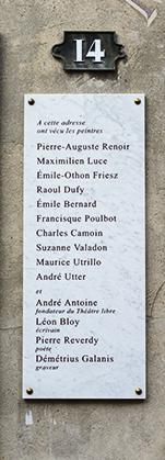 Liste des artistes ayant vécu au 14 rue Cortot.