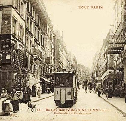 Le funiculaire dans la descente. Après la rue Julien Lacroix, remarquez le théâtre populaire aujourd'hui disparu.