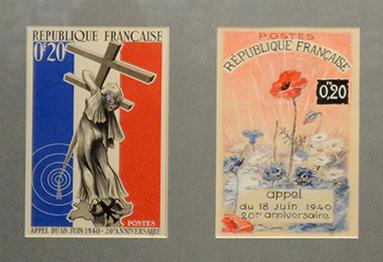 Le Général de Gaulle ne sera pas représenté de son vivant. L'appel du 18 juin sera commémoré en 1960 sans qu'il figure sur les timbres.