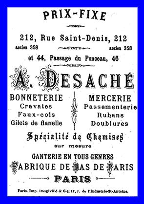 Les passages abritaient des activités variées ici dos d'une image publicitaire du XIXe siècle. Le passage du Ponceau demeure aujourd'hui encore, tourné vers la confection.