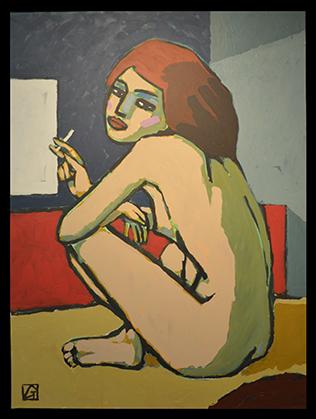 Grand nu, peinture acrylique sur toile.