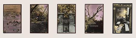 Les tapisseries de la tenture du Monde dialoguent avec la série de photos N&B colorées avec texte  sérigraphie: Epaves du désir, 1995 de Martine Aballéa. (collection Frac Basse-Normandie, Caen)
