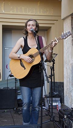 Stéphanie Lignon, place de la Loge à Perpignan, le 20 août.