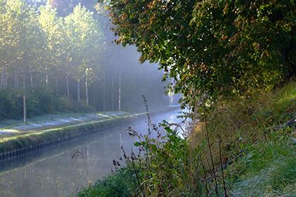 Le canal de l'Ourcq, de Mareuil- sur-Ourcq à la Villette, se couvre de brume et se pare lui aussi de couleurs dorées.