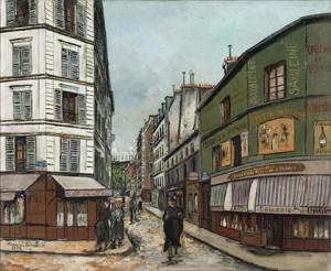 Maurice Utrillo, Rue Seveste, Paris (XVIIIème arr.), Huile sur toile, 1923. Paris, musée d'Art moderne. (© ADAGP/Jean Fabris, Crédit photographique : Eric Emo/ Parisienne de photographie).
