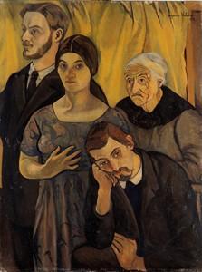 Suzanne Valadon : Portrait de Famille, 1912, le trio et la grand-mère (Centre Pompidou – Musée national d'art moderne © Centre Pompidou MNAM-CCI, dist. RMN-Grand Palais/Philippe Migeat)