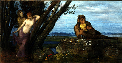 Arnold Böcklin : Soir de Printemps, 1879, huile sur bois,en format 67,4 x 129,5 cm. (Budapest, Szépmüvészeti Museum@Szpüvészeti museum of fine arts).
