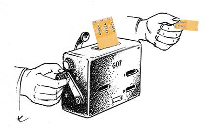 La moulinette qui validait les tickets de bus était utilisée pour le funiculaire. (dessin : André Chaigneau)