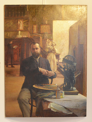 Albert Maignan dans son atelier par Charles Bitte, 1892.