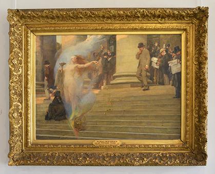"""""""La fortune passe"""", présentée au salon de 1895. Un sujet de préoccupation pour les actionnaires réunis sur les escaliers de la Bourse."""