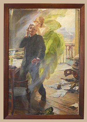 """""""La Muse verte"""", 1895 est présentée dans l'atelier au 4e étage."""