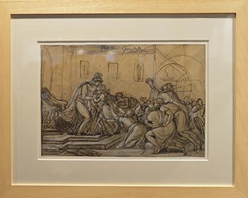 Dessin préparatoire pour le Grand Prix, signé de Girodet et de son professeur.