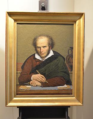 Portrait de Girodet réalisé par Paul Carpentier d'après Anne-Louise Girodet-Trioson. Peinture à l'encaustique. Copie du dernier autoportrait de Girodet conservé au Musée Magnin de Dijon