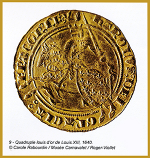 Premier franc, le franc à cheval, quadruple louis d'or de Louis XIII, 1640