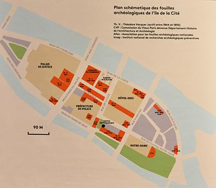 Plan des sites archéologiques dans l'Île de la Cité