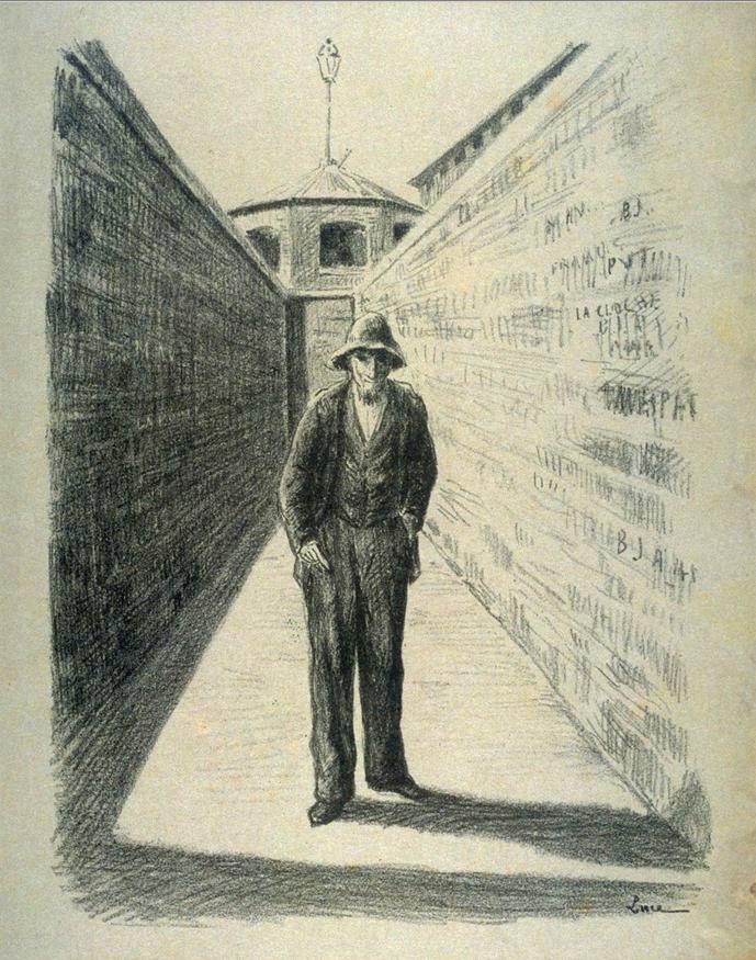 Fénéon, lors de la promenade à Mazas par Maximilien Luce