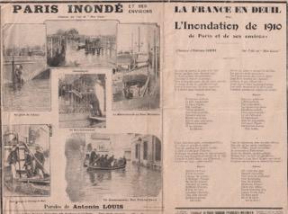 Partition de 1910 racontant les inondations.