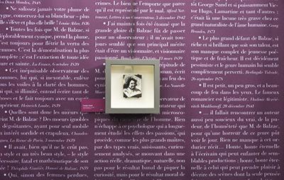 Portrait de Charles Huard, sur un mur de citations évoquant l'oeuvre de Balzac, son style, ses personnages.