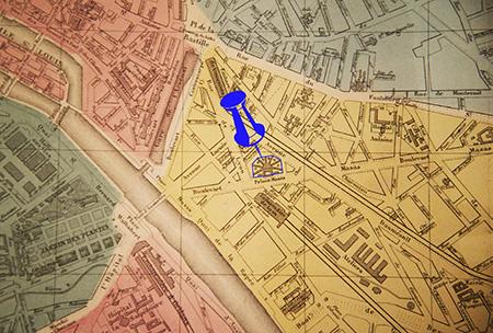 Quartier des quinze-vingts en 1869. Notez la forme bien particulière de la maison d'arrêt Mazas.